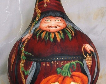 On the Wings of Magic, Halloween witch gourd, hand painted, 10 inches tall