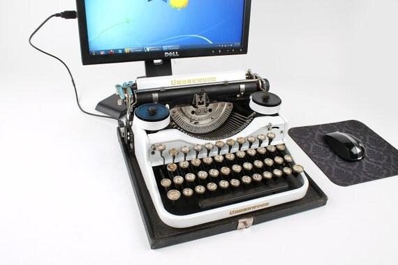 USB Typewriter Computer Keyboard -- Pearl White Underwood