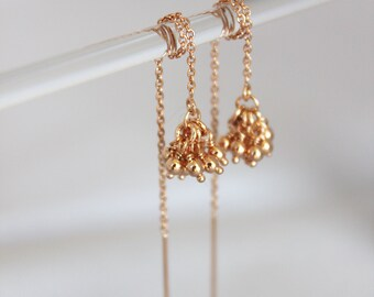 rose gold threaders. tiny ball clusters. delicate rose gold vermeil or gold fill chain • • teresa chain earring