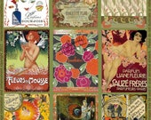 Digital Collage Sheet ACEO/ATC Vintage Perfume Labels 2