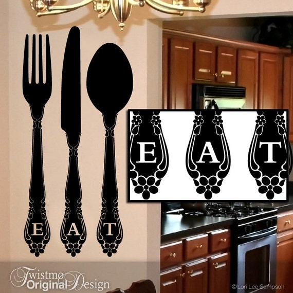 Kitchen Wall Decor Fork And Spoon: EAT Kitchen Wall Decor Vinyl Wall Decal Large Fork And Spoon
