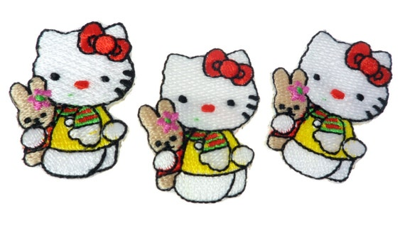 Kitty Patch Iron On Embroidery Hot Fix Appliques Clothing 2 Pieces