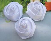 Satin flower--12pc White Satin fabric Rose flowers--35x18mm