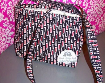 Purse - Squares - Red White Black - Bag - Long Handle