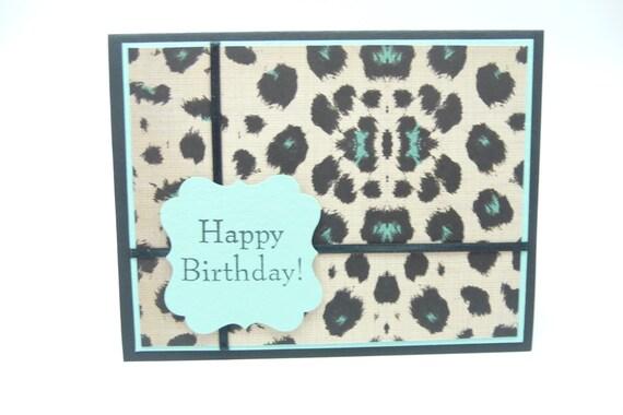 Leopard Print Birthday Card, Teal Animal Print Card, Birthday Card for Her, Handmade paper Greeting Card