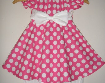 Minnie Mouse pink  polka dot dress with long  ruffled white bloomers (available in sizes  12 months 2t,3t,4t,