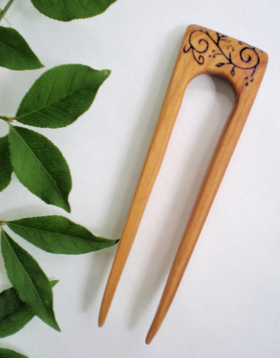 Canarywood Hair Stick Fork Style with Pyrography