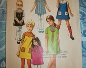 SALE Unused Vintage 1970s Little Girls Dress with Short or Long Sleeves Simplicity Sewing Pattern Size 3 9046