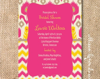 Indie Yellow and Hot Pink Ikat Chevron Printable Invitation Hipster Baby Shower Fuchsia Yellow Baby Girl Bridal Shower Bright Colorful