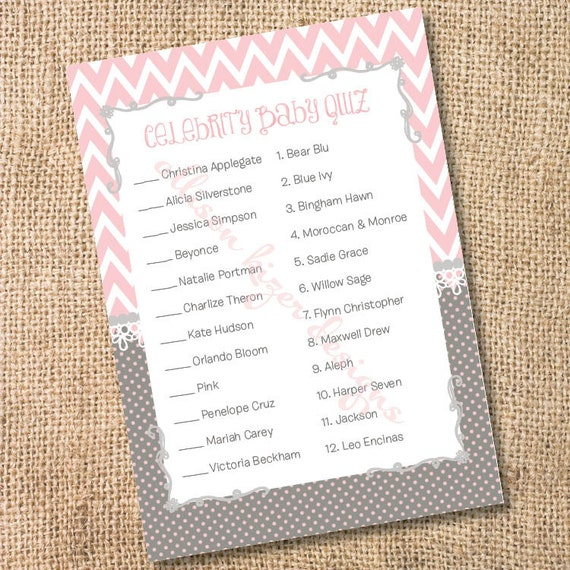 Pink Baby Girl Shower Game Celebrity Babies Pink and Gray Chevron Printable Celebrity Baby Match Game - INSTANT DOWLOAD