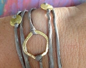 Silk and Brushed Gold Wrap Bracelet