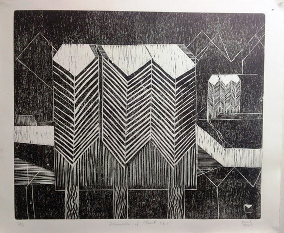 studio printed limited edition woodcut print - modernist clouds