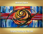 Colored Brushwork Art, Abstract Painting Huge original Modern expressionist Impasto Textured gallery canvas Ready to Hang by tim lam SPIRAL