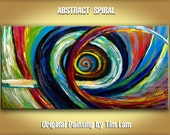 Original large Colored Brushwork art  impasto textured Abstract Painting acrylic panting Modern home deco SPIRAL 48x24 by Tim Lam