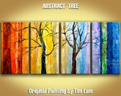 "Acrylic paintings, Winter tree art with Rainbow Color, 4 panel 48"" abstract Large Impasto Palette Knife texture by tim lam"