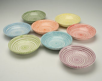 As seen on cover of HGTV Magazine September 2014 - One Small Bowl In Color Of Your Choice Spiral and Dots Hand Painted Tableware