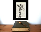 Giraffe Watching You Art Print on Antique 1896 Dictionary Book Page
