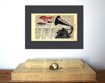 Goldfish Grammophone Vintage Art Print on Antique 1896 Dictionary Book Page