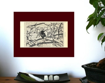 Winter Crow Art Print on Antique 1896 Dictionary Book Page