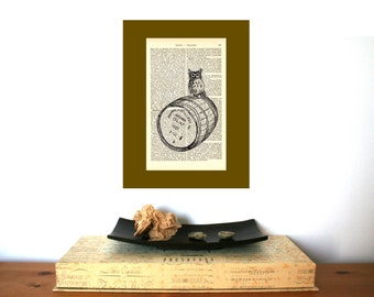 Whisky Owl Art Print Whisky on Antique 1896 Dictionary Book Page
