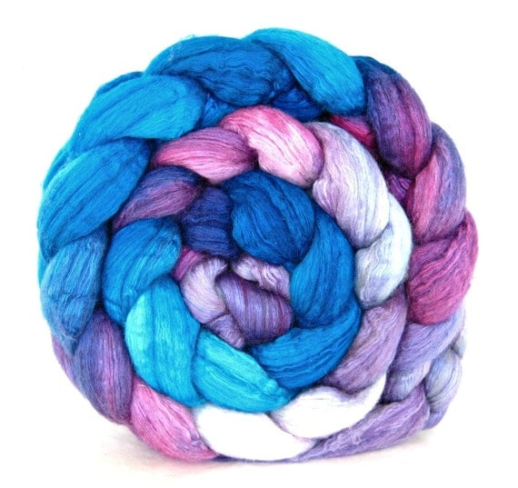 ON SALE hand painted wool roving, merino silk 50 / 50 combed top