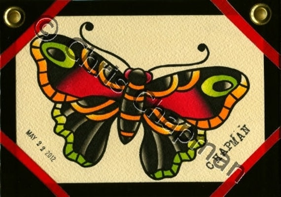 Traditional Butterfly Tattoo Flash: Butterfly Traditional Tattoo Flash By Milkytoast On Etsy