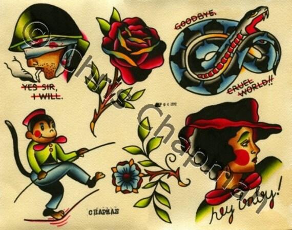 Ladies n Monkeys n Snakes Tattoo Flash
