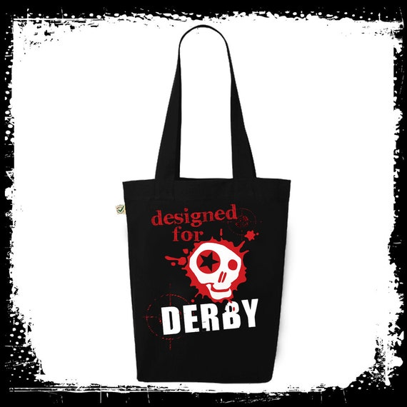 Roller Derby Tote Bag, Black and Red