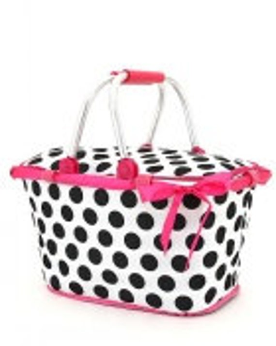 Insulated Polka dot Collapsible Market Tote Personalized Free Great for the Beach, Pool Parties, Wedding gifts, Great for Tennis
