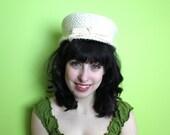 Hat  Veil  Vintage 1950s 50s 1960s 60s White Ivory Straw Topper