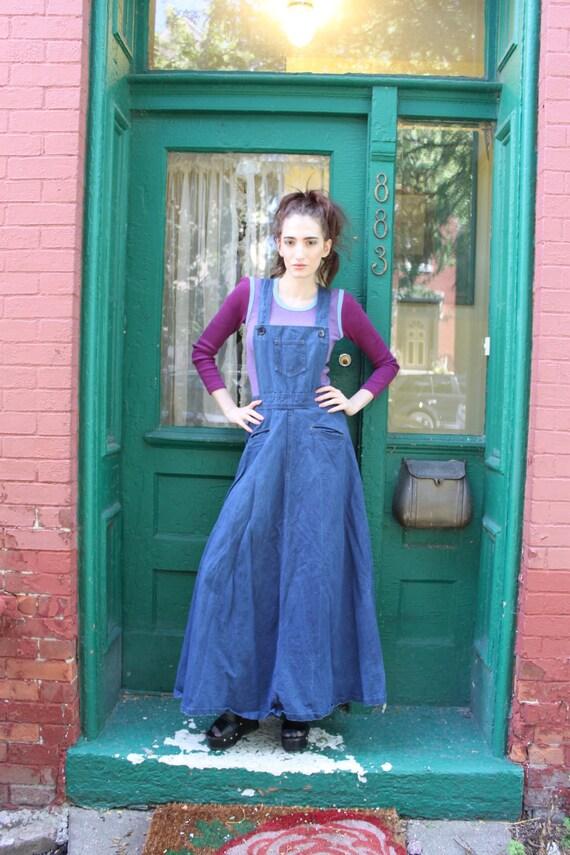 Vintage Skirt 1970s 70s Overalls Jumper Denim Jeans Maxi High Waist M Medium