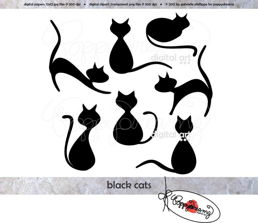 Black Cats Elements: Clip Art Pack 300 dpi Digital Images