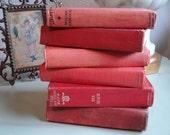 6 Red Vintage Book Collection / Novels / Home Decor