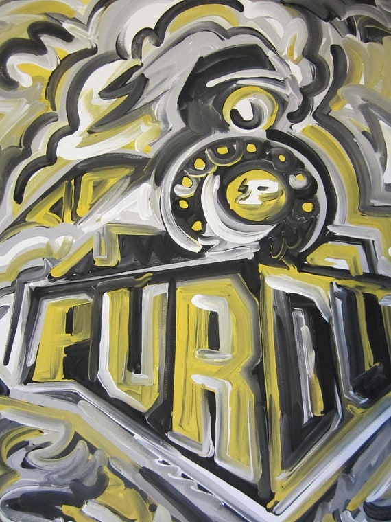 Purdue Train Painting by Justin Patten Sports Art
