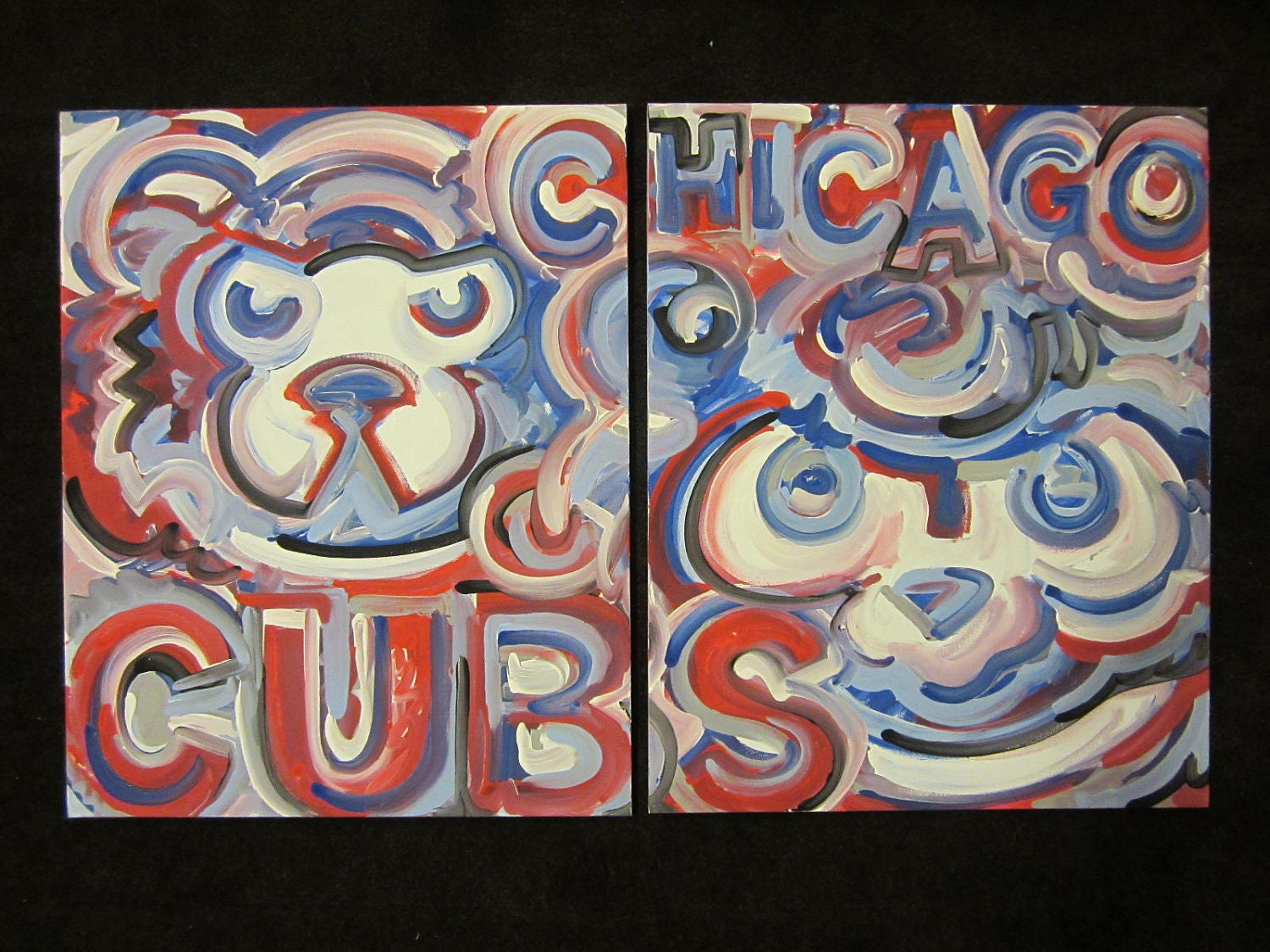Chicago Cubs Painting Set Of 2 By Justin Patten Sports Art