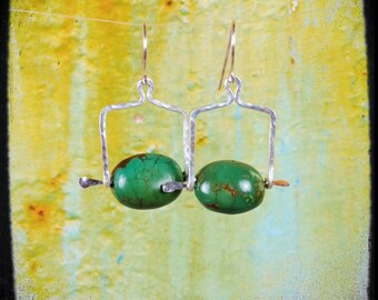 Handmade one of a kind artisan turquoise square hoop spur unique silver earrings