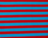 Seussical Red and Blue Striped Cotton Lycra Jersy Knit Fabric