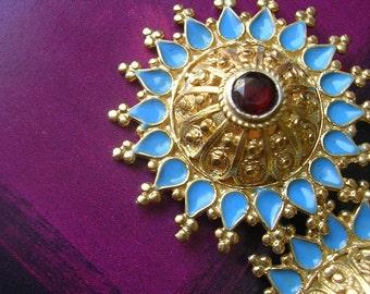 FREE SHIPPING   TASHKENT Earring  asian antique inspired  sterling fligree gold dome kuchi ethnic