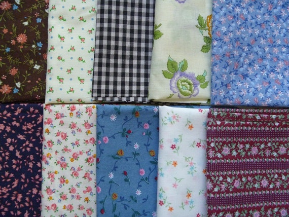 10 Assorted Vintage Cotton Blends Fabric Scraps..Fat Eighths