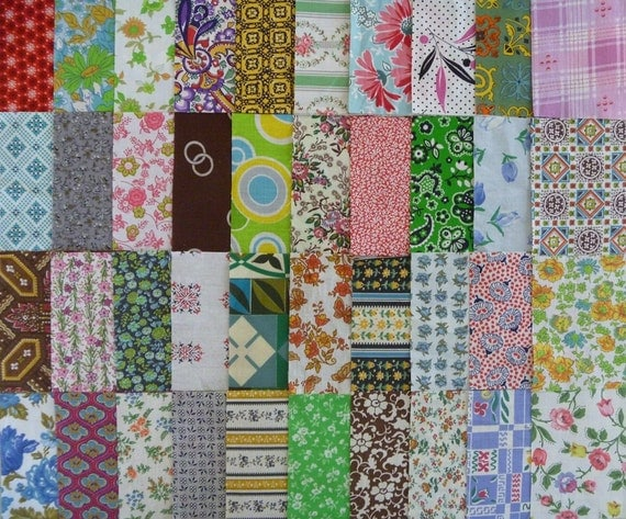 40 Assorted 4 Inch Vintage Cotton Fabric Squares..4 Inch Quilting Squares-Fabric Scraps..Vintage Fabric Scraps
