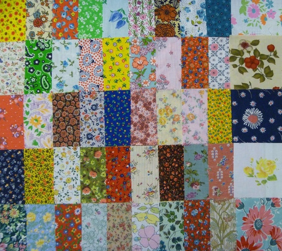 50 Assorted 3 Inch Vintage and A Few Newer Floral Cotton Fabric Squares-3 Inch Quilt Squares-Fabric Scraps