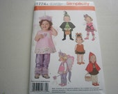 Pattern Toddler Costumes Little Red Riding Hood Princess  Sizes 1/2 to 4 Simplicity 1774