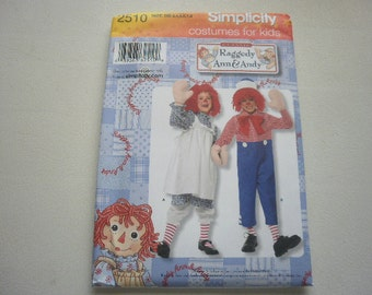 Pattern Costumes Childs Raggedy Ann and Andy Sz 3 to 8 Simplicity 2510