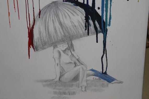 Melted Crayon Art: Rainbow Rain