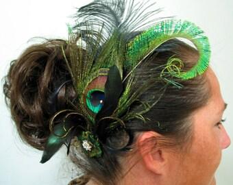 Bridal Fascinator, Green, Gold with Black Ostrich, Peacock Bridal Hair Piece, Wedding Fascinator, Bridal Headpiece, Elegant Fascinator