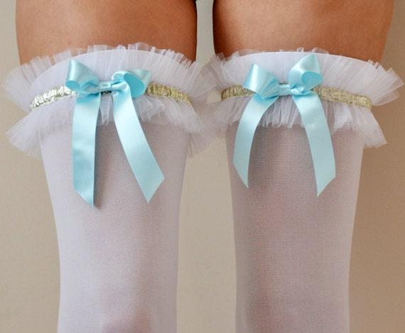 LOLA White Opaque Ruffles Thigh High stockings with light Blue satin Bow - wedding pantyhose