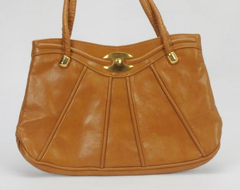 Vintage Shoulder bag Brown Vinyl Handbag-20% off Sale: Use code HappyNewYear20