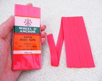 Satin Bias Tape - Neon Pink