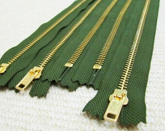 10inch - Hunter Green Metal Zipper - Gold Teeth - 5pcs