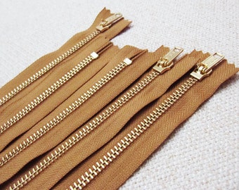 10inch - Chestnut Brown Metal Zipper - Gold Teeth - 5pcs